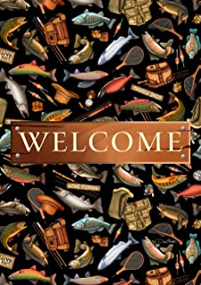 """Toland Home Garden 1012003 Angler A-Lure Welcome 28 x 40 Inch Decorative, House Flag (28"""" x 40"""")"""