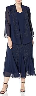 Women's Plus Size Beaded Chiffon Jacket Dress