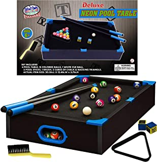 """Matty's Toy Stop Deluxe Wooden 20"""" Mini Table Top NEON Pool (Billiards) Table with 15 Colored Balls, 1 Cue Ball, 1 Brush, ..."""