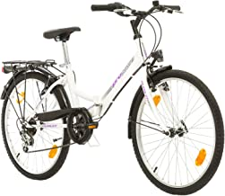 Multibrand, Folding City 24 Lady, 24 Pulgadas, 457 mm, Bicicleta de montaña Plegable, 18 velocidades, para Mujeres, niña, Guardabarros Delantero y Trasero, Lustre Blanco Lilac-Gris