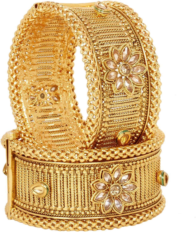 SANARA Beautiful Bollywood Style 2 pc Antique Gold Plated Bangle Bracelet Broad Kada Indian Traditional Partywear Set