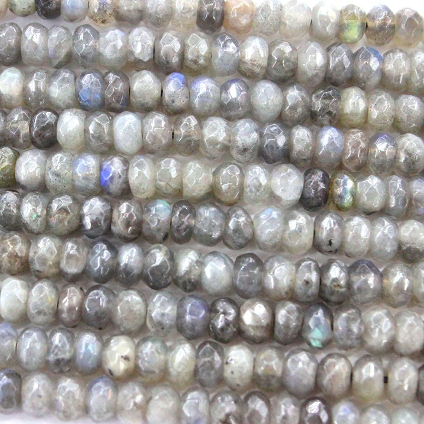 Faceted Natural Labradorite Rondelle Findings Jewerlry Making Gemstone Beads (5×8mm)