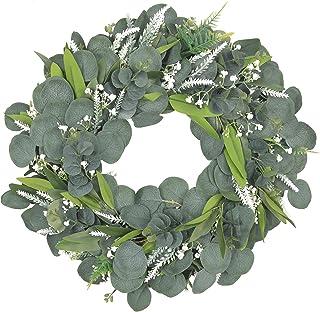 "Pauwer Artificial Eucalyptus Wreath 18"" Green Wreath Spring Summer Welcome Door Wreath Farmhouse Artificial Green Leaves W..."