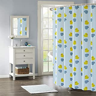 TongYan Shower Curtain Duck Fabric Bath Curtains Waterproof Bathroom Decorative Kids Shower Curtains with Hooks for Shower Stall and Bathtubs,Weighted Hem,Machine Washable,72 x 72 Inch(Grid)