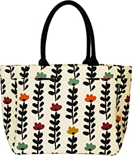 AQVA Printed Cotton Canvas Water Resistant Tote Bag for Women & Men - Reusable Shoulder Bag with Full Top Zipper, Inner Po...
