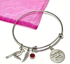 Cardinals Appear When Angels Are Near Memorial Charm Bracelet Expandable Stainless Steel