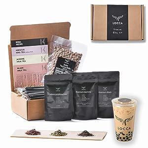 Locca Hibiscus Bubble Tea Kit | 24+ Boba Drinks Premium Hibiscus Rosehips, Jasmine, Black Tea | Premium Loose Leaf Teas | DIY Kit for Hibiscus Milk Tea Kit