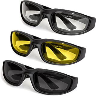 3-Pack Motorcycle Glasses – Foam Padding – Anti-Wind & Dust – Polycarbonate Lens (Yellow, Smoke, Clear)
