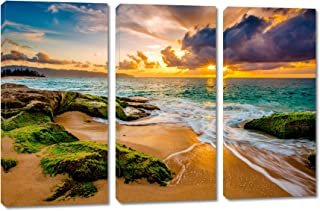 60 x 40 Total - Hawaii Beach with Golden Sunset Canvas Print. 3 Panel Split, Triptych, Wall Art for Room Wall Decor