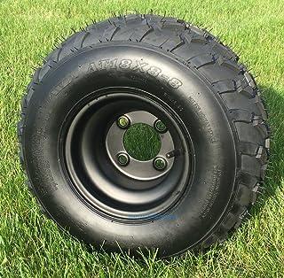 "RHOX RXAL 18x8-8 All Terrain Golf Cart Tires and 8"" Black Steel Golf Cart Wheels Combo - Set of 4"