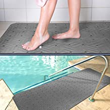 Wet Step Indoor/Outdoor Mat (2' x 3'Grey)– Non-Slip Antimicrobial Drainable Soft and Comfortable Anti-Fatigue Mat for Wet Areas – Locker Room, Shower, Swimming Pool Deck, Spa, Bathroom, by M+A Matting