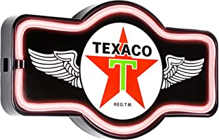 Texaco Oil Gas Station - Reproduction Vintage Advertising Marquee Sign - Battery Powered LED Neon Style Light - 17 x 10 x 3 Inches