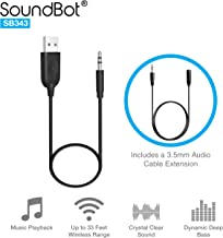 SoundBot SB343 3.5mm AUX Bluetooth Receiver Adapter Dongle,Universal Compatibility to Stream Music from ANY Bluetooth Wireless Enabled Players to Home/Car Audio Speaker System w/ 3.5mm Audio-In Port