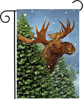 "ShineSnow Christmas Winter Animal Deers in Snowy Forest Tree Nature Seasonal Garden Yard Flag 12""x 18"" Double Sided Polyes..."