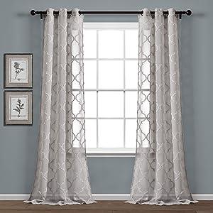 Lush Decor Gray Avon Trellis Grommet Sheer Window Curtain Panel Pair (84