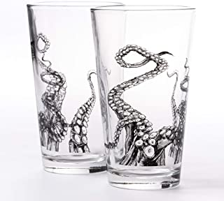 Pint Glasses by Black Lantern – Handmade Craft Beer Glasses and Bar Glassware – Octopus Tentacles Design (Set of Two 16oz....