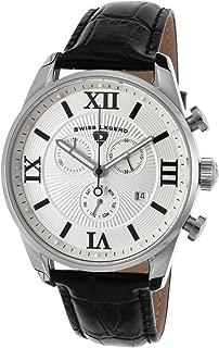 Men's Bellezza Stainless Steel Swiss-Quartz Watch with Leather Calfskin Strap, Black, 21 (Model: 22011-02S-BLK)