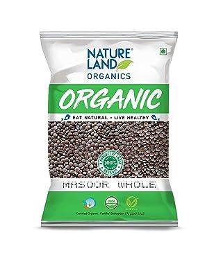 Natureland Organics Masoor Whole/Sabut Pouch, 1 kg