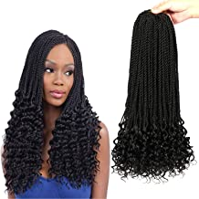 7 Packs Senegalese Twist Hair with Curly Ends 18 Inch Crochet Hair Synthetic Kanekalon Fiber Braiding Hair Extension Synthetic Crochet Braids Hair 24 strands/pack(Top Senegal Down Wavy, 1B)