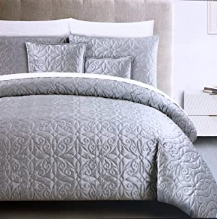 Duvet Cover Set Tahari Bedding Soft Luxurious Velvet 3 Piece Full/Queen Size Metallic Light Gray Textured Quilted Geometric Pattern - Isabella, Chrome