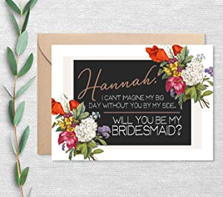Personalized Will You Be My Bridesmaid Card with Envelope