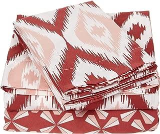 Chic Home 4 Piece Arundel Ikat Diamond and Contemporary Geometric Pattern Print Technique Twin Sheet Set Brick