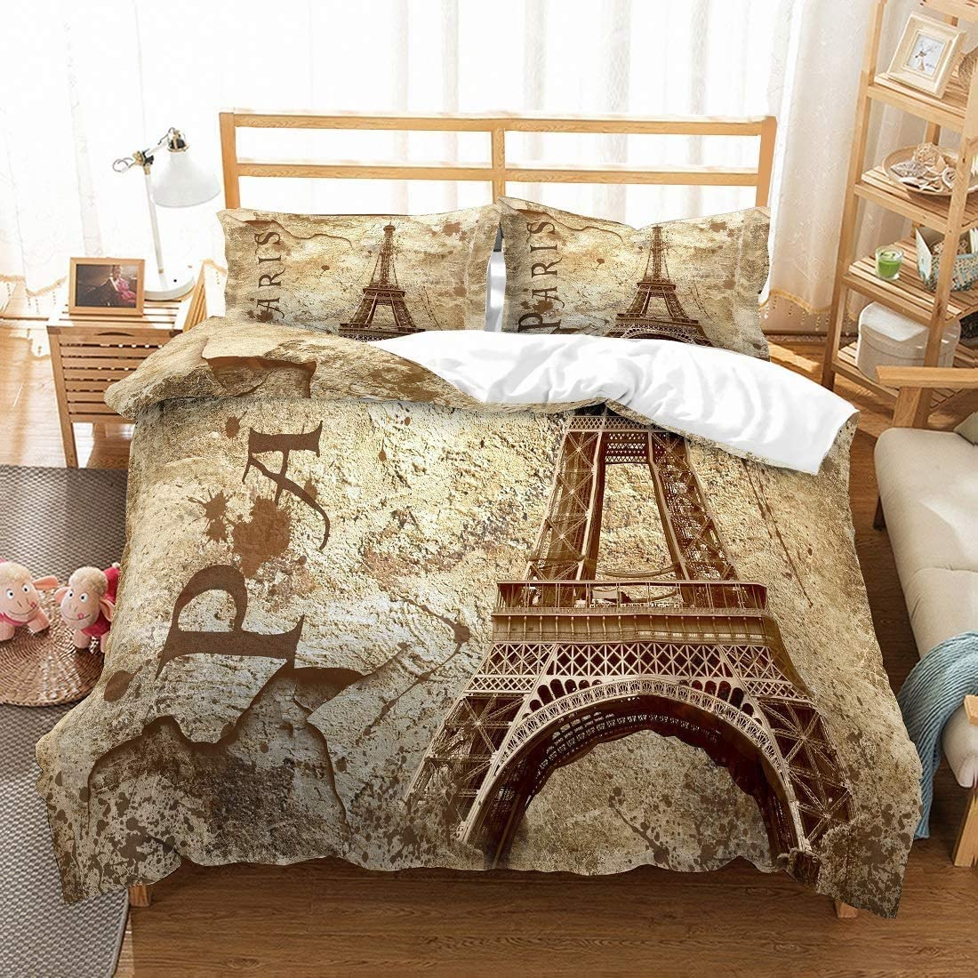 MOUMOUHOME Eiffel Tower Retro Bedding Sets Vintage Ch Size Queen 爆買い新作 ついに再販開始
