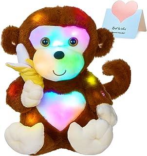 WEWILL LED Cute Monkey Stuffed Animal Creative Glow Soft Plush Toys with Banana in Hand Nightlight Bedtime Birthday Gift, ...