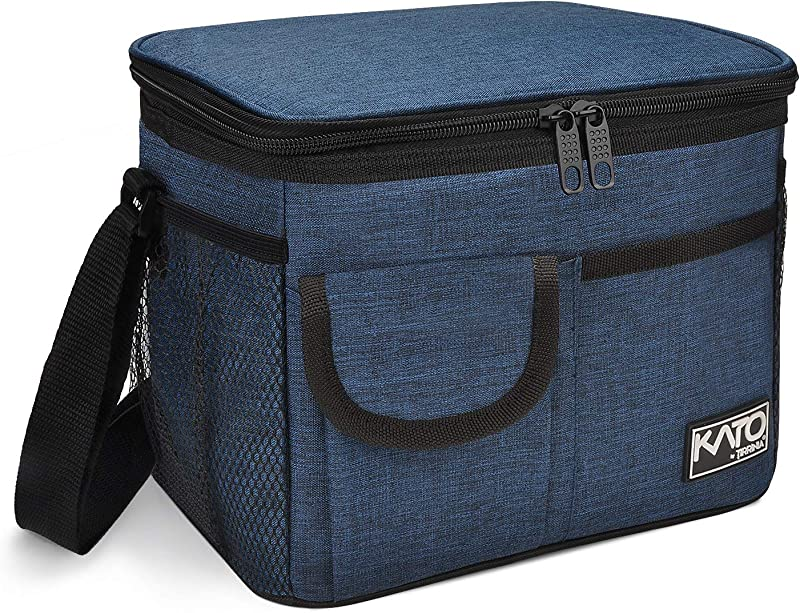 Insulated Lunch For Box Women Men Leakproof Thermal Reusable Lunch Bag With 4 Pockets For Adult Kids Lunch Bag Cooler Tote For Office Work By Tirrinia Dark Blue
