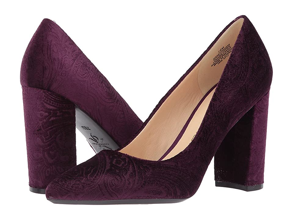 Nine West Astoria Block Heel Pump (Dark Purple Fabric) High Heels