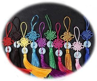 "HorBous 8 PCS 10""Manual Oriental Imitation Jade Peace Buckle Tassel Chinese knot Pendant Gift for Car Decoration , Home Decoration, Color Random."
