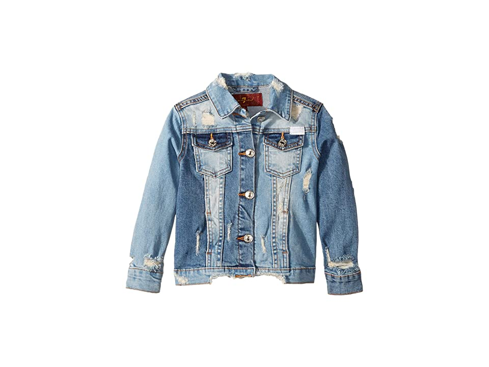 7 For All Mankind Kids Cropped Denim Jacket (Little Kids) (Mixed Wash) Girl