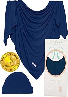 Posh Peanut Baby Boy Swaddle Blanket - Large Premium Knit Viscose from Bamboo - Infant Swaddle Wrap, Receiving Blanket and Headband Set, Baby Shower Newborn Gift, Registry (Sailor Blue)