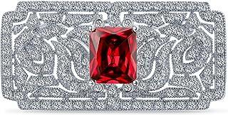 Bling Jewelry Art Deco Vintage Stile Rosso Verde Simulato Smeraldo Ruby AAA C' Rettangolo Brof Spilla Pin per Donne Argent...