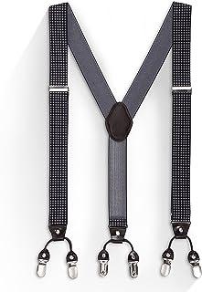 "Suspenders for Men, Y-Back 1.5"" Wide Adjustable Solid Clip Mens Suspenders for Wedding, Formal Events"