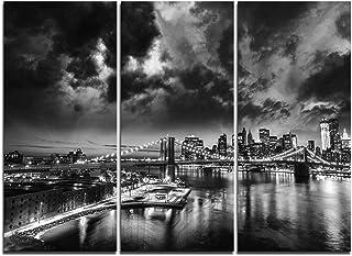 Designart Amazing Night in New York City-Cityscape Canvas Art Print-36x28in-Multipanel 3 Piece, 36x28-3 Panels, Blue