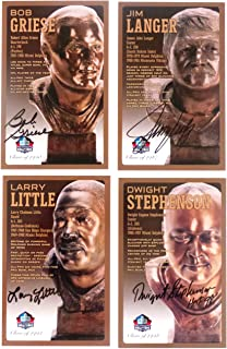 PRO FOOTBALL HALL OF FAME Miami Dolphins Set of 4 Signed Bronze Bust Set Autographed Cards (Limited Edition Only 150 Produced) BOB GRIESE, Jim Langer, Larry Little, Dwight Stephenson