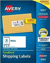 Avery Shipping Address Labels, Inkjet Printers, 1,000 Labels, 2x4 Labels, Permanent Adhesive, TrueBlock (8463), White