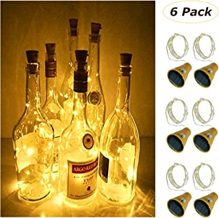 MEI YI Solar Wine Bottle Lights with Cork 6 Pack 20 LEDs Fairy Lights String Silver Wire Light,for Party,Christmas,Wedding Center or Table Decorations (Warm White)