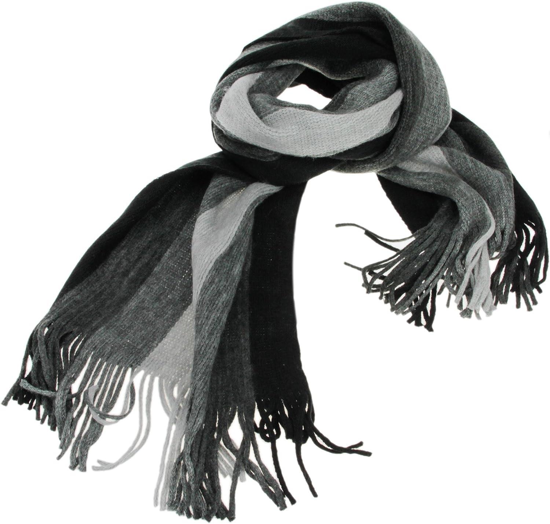 Men's Tissue Long Scarf Fringe Striped Winter Warm Cashmere Wool Knit Shawl Wrap