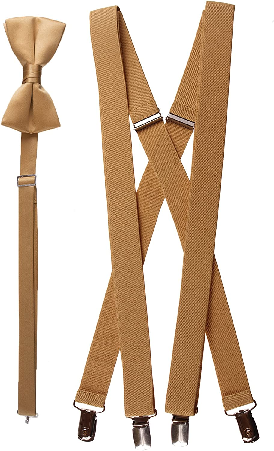 Adults Antique Gold Adjustable Suspender and Bow Tie Set