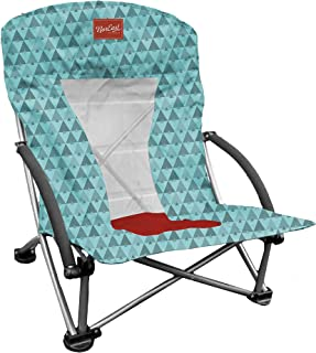 Noreast Outdoors Lowrider Lightweight Beach Chair – Packable and Portable, Lightweight Outdoor Chair (Aqua/Red)