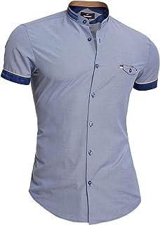 D&R Fashion Mondo Mens Cotton Short Sleeve Shirt Mao Collar Slim Fit Navy Blue Front Pocket
