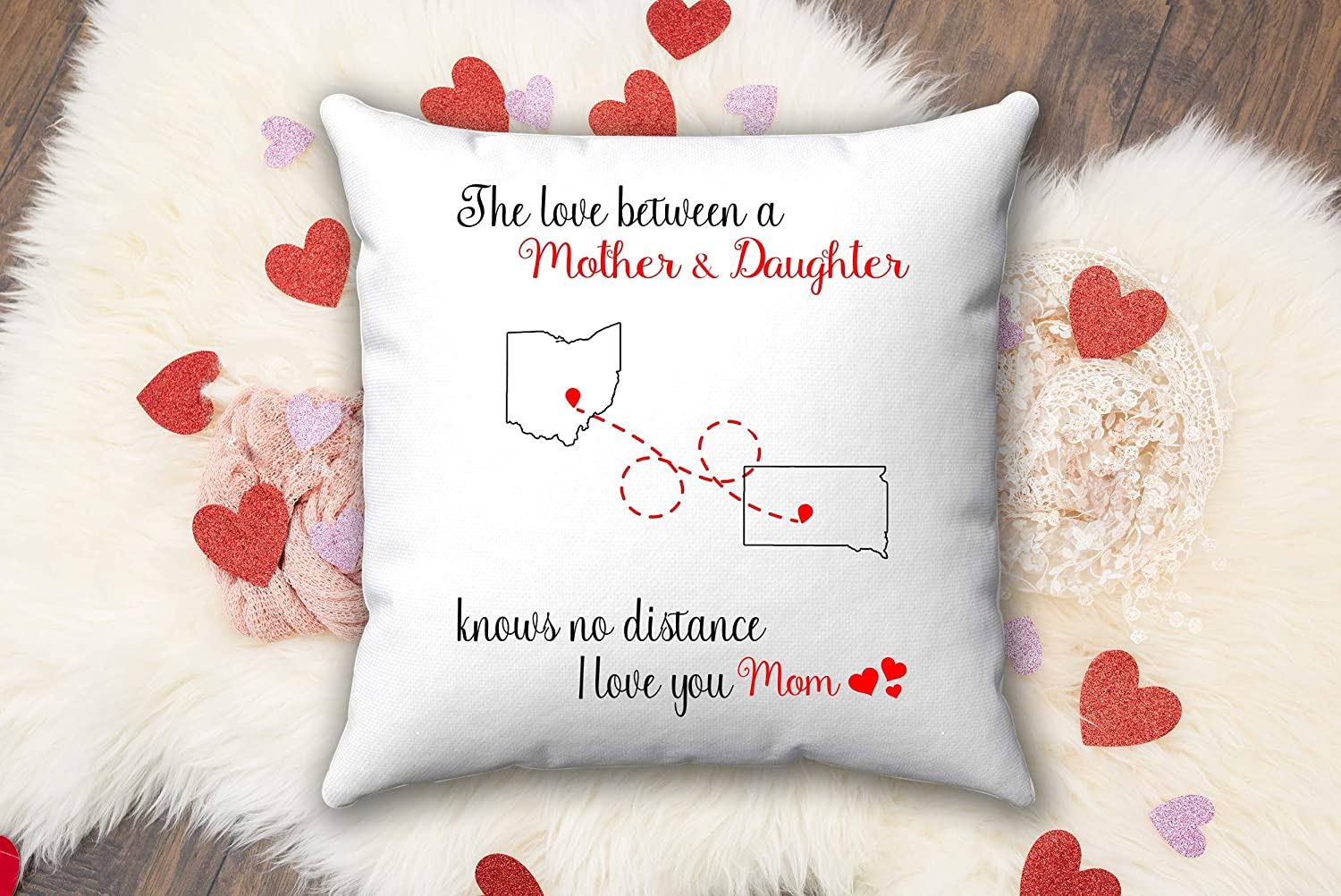 Mom's Throw Pillow Latest item Ohio South Dakota Moth State Between Love The Excellent