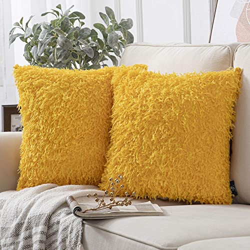 lowest Phantoscope Pack of 2 Fuzzy Faux Feather Throw Pillow Covers Soft Velvet Series Faux Fur Decorative Pillowcases Cushion Cover for Couch Bed and Chair, Orange popular Yellow, 18 x 2021 18 inches, 45 x 45 cm outlet online sale