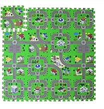 Foam Play Mat Road Toy Playmat Interlocking Floor Puzzle Road Playroom Mat Interactive Play Set, 18 Piece Set