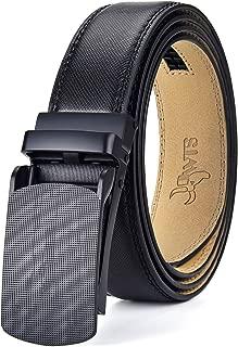 DWTS Men's Belt Ratchet Genuine Leather Dress Belt for Men with Slide Click Buckle Adjustable Trim to Fit