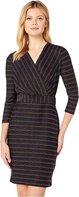 Multicolored Metallic Knit Stripe Dress