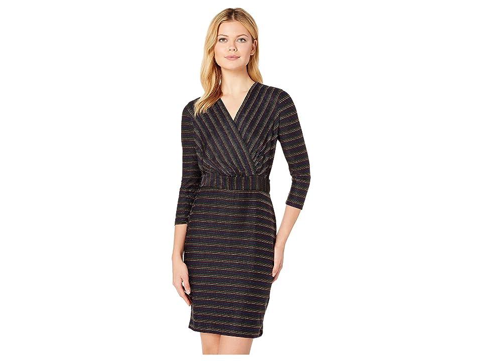eci Multicolored Metallic Knit Stripe Dress (Black/Multi) Women