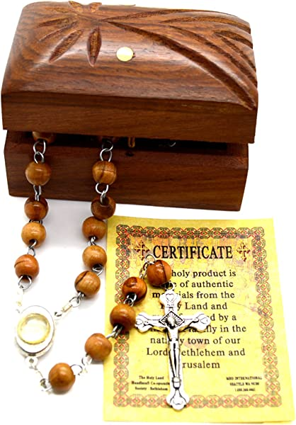 Holy Land Bethlehem Olive Wood Rosary Beads With Holy Water From The Jordan River Madonna Child Wooden Hand Carved Jewelry Box